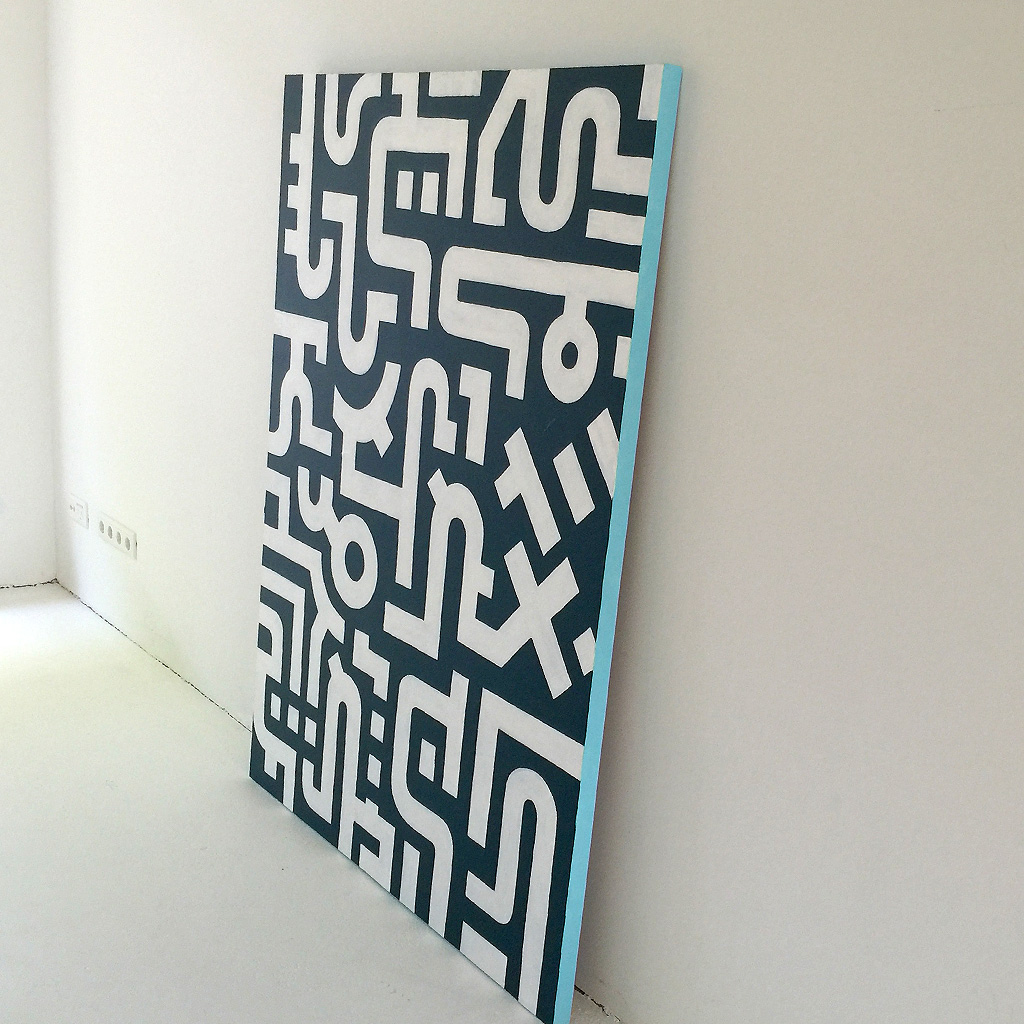 Image 4 of 7 - Artwork 'Working Day' is an abstract painting with white lines on a dark blue canvas by Dutch contemporary urban artist Michiel Nagtegaal