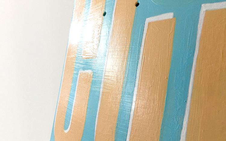 Custom painted skateboard deck 'tilt shift' by Dutch artist Mr. Upside depicts a learning curve - Photo 1 of 3