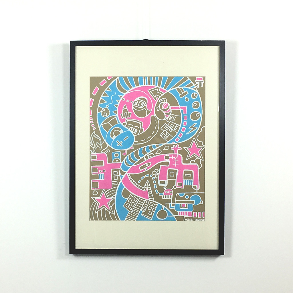Illustration 'Aliens Night Out' is a freehand illustration on brown cardboard with pink and blue shapes by Dutch contemporary artist Mr. Upside / Michiel Nagtegaal