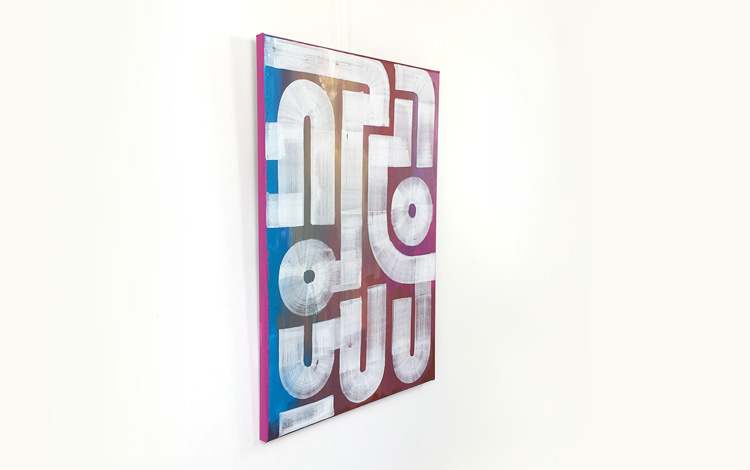 Side view of the abstract painting 'Field Portrait' by Dutch urban artist Mr. Upside / Michiel Nagtegaal, which was sold