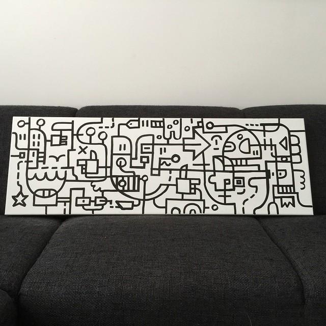 Black 'harbour' lines on canvas