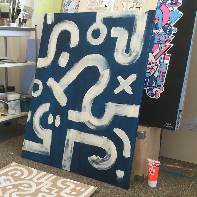 Painting 'Denim Blue' - Bold white lines on a rich dark blue background