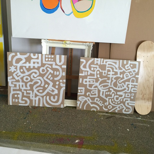 Quick sketches on cardboard with white Posca paint markers
