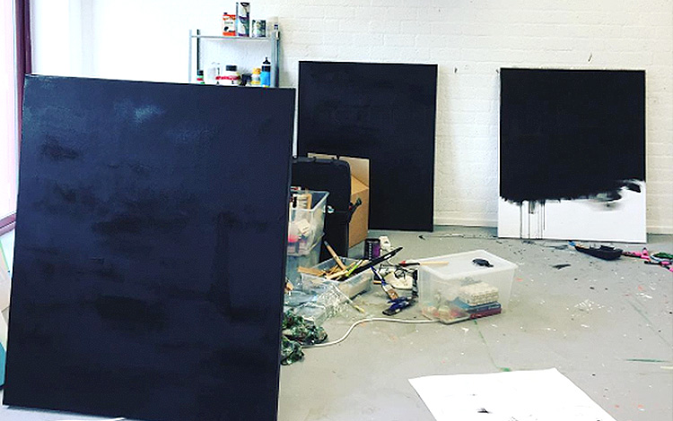 A photo of my studio while I a working on multiple artworks at once