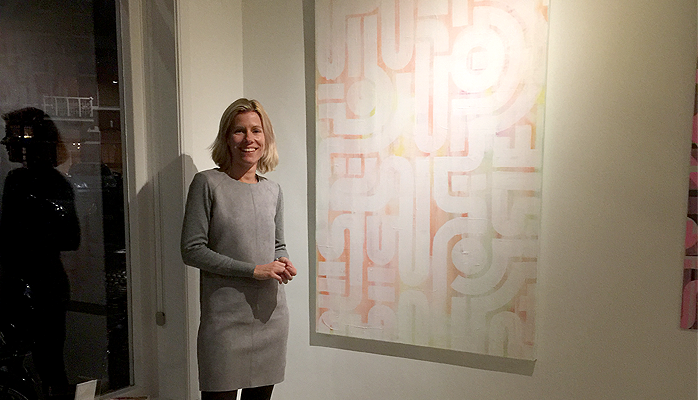 One of the new owners, Marlies, with the 'Soft Skin' painting