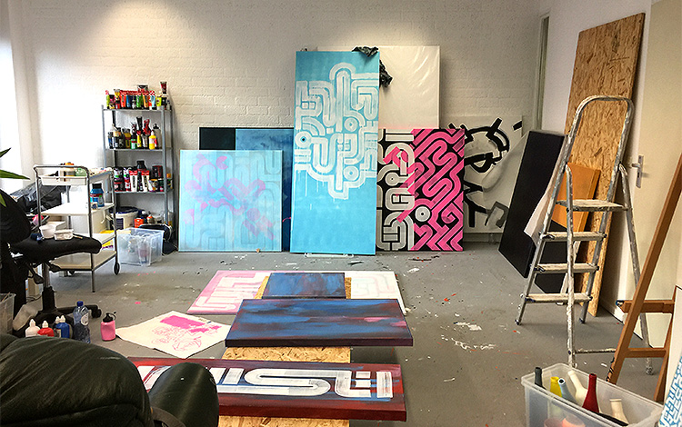 MY ART STUDIO, WITH ONE THE SLIDING DOOrS IN THE MIDDLE (BLUE BACKGROUND WITH WHITE LINES)