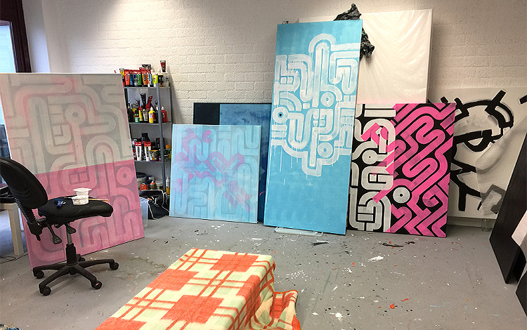 Picture 5 of 16 - Overview of painting I am currently working on -Work-in-progress - Painted sliding doors for bathroom Airbnb location