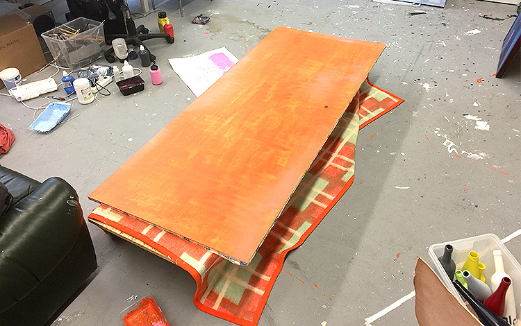 Picture 7 of 16 - Preparing the second sliding door with orange paint -Work-in-progress - Painted sliding doors for bathroom Airbnb location