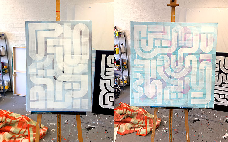 Picture 2 of 4 - Work-in-progress on several abstract paintings by Dutch artist Michiel Nagtegaal in Leidschendam-Voorburg, the Netherlands