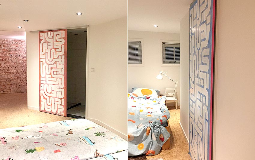 The finished sliding doors, photographed in the two bedrooms of the airbnb location in voorburg, the netherlands