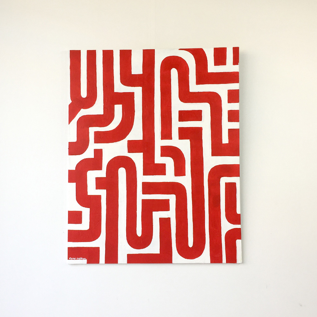 Image 1 of 6 - Front view of abstract artwork 'Blood Lines', a painting with red lines on a white canvas by Dutch contemporary urban artist Michiel Nagtegaal