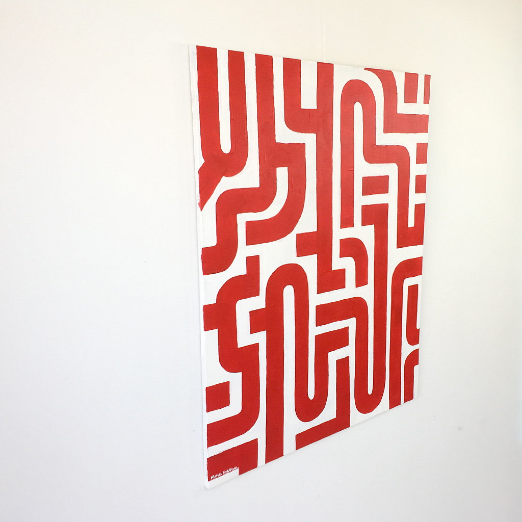 Image 2 of 6 - Left view of abstract artwork 'Blood Lines', a painting with red lines on a white canvas by Dutch contemporary urban artist Michiel Nagtegaal