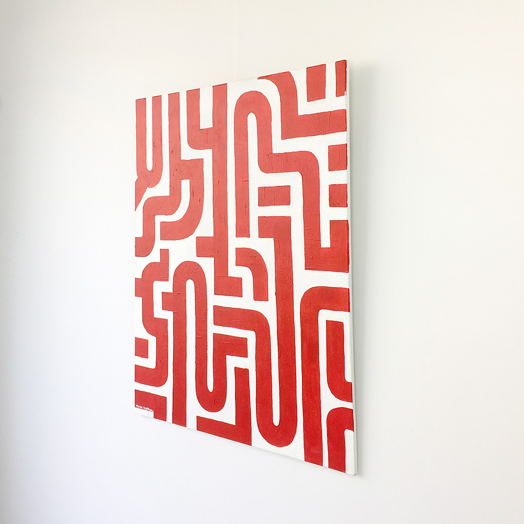 Image 3 of 6 - Right view of abstract artwork 'Blood Lines', a painting with red lines on a white canvas by Dutch contemporary urban artist Michiel Nagtegaal