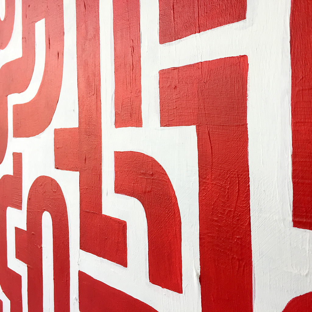 Image 4 of 6 - Close-up view of abstract artwork 'Blood Lines', a painting with red lines on a white canvas by Dutch contemporary urban artist Michiel Nagtegaal