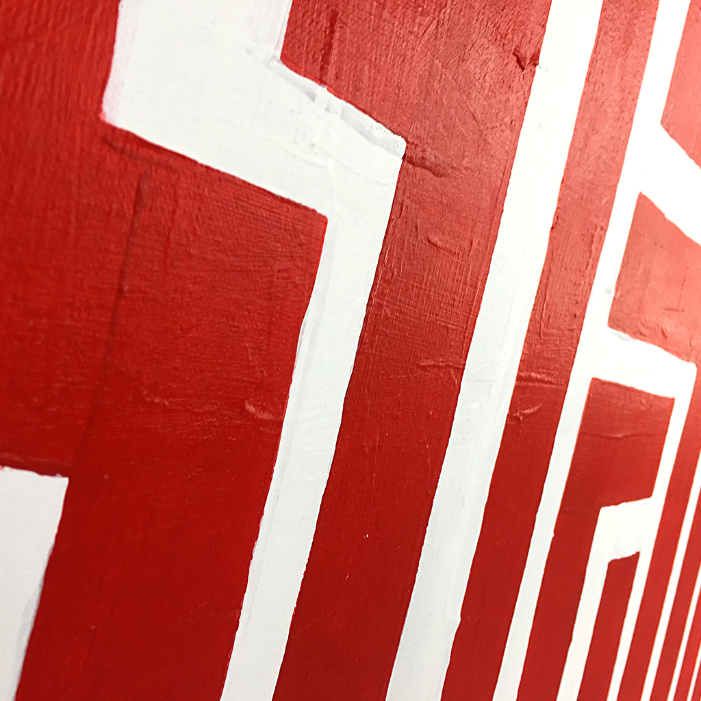 Image 5 of 6 - Close-up 2 of abstract artwork 'Blood Lines', a painting with red lines on a white canvas by Dutch contemporary urban artist Michiel Nagtegaal