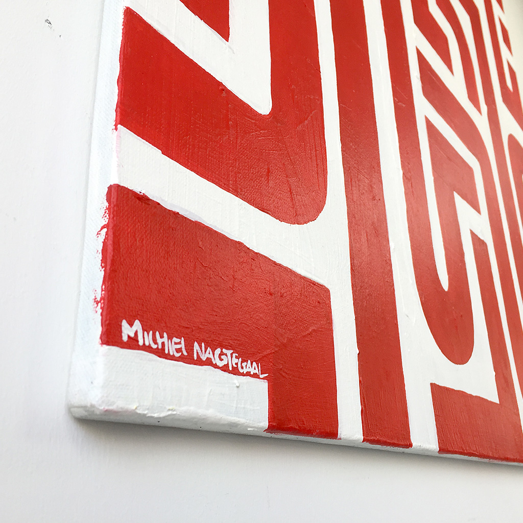 Image 6 of 6 - Close-up 3 of abstract artwork 'Blood Lines', a painting with red lines on a white canvas by Dutch contemporary urban artist Michiel Nagtegaal