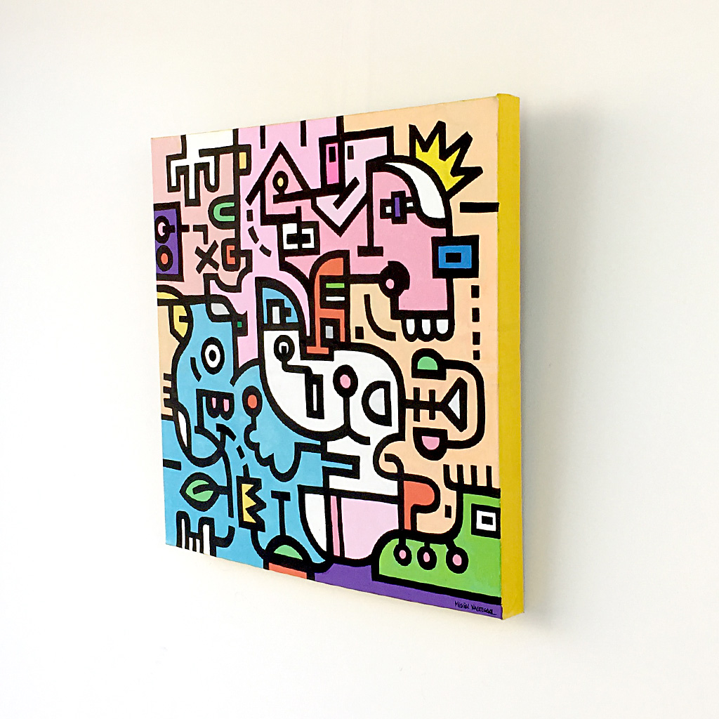 Image 3 of 8 - Right side view of artwork 'King Candy', a colourful painting with black bold lining on canvas by Dutch contemporary urban artist Michiel Nagtegaal