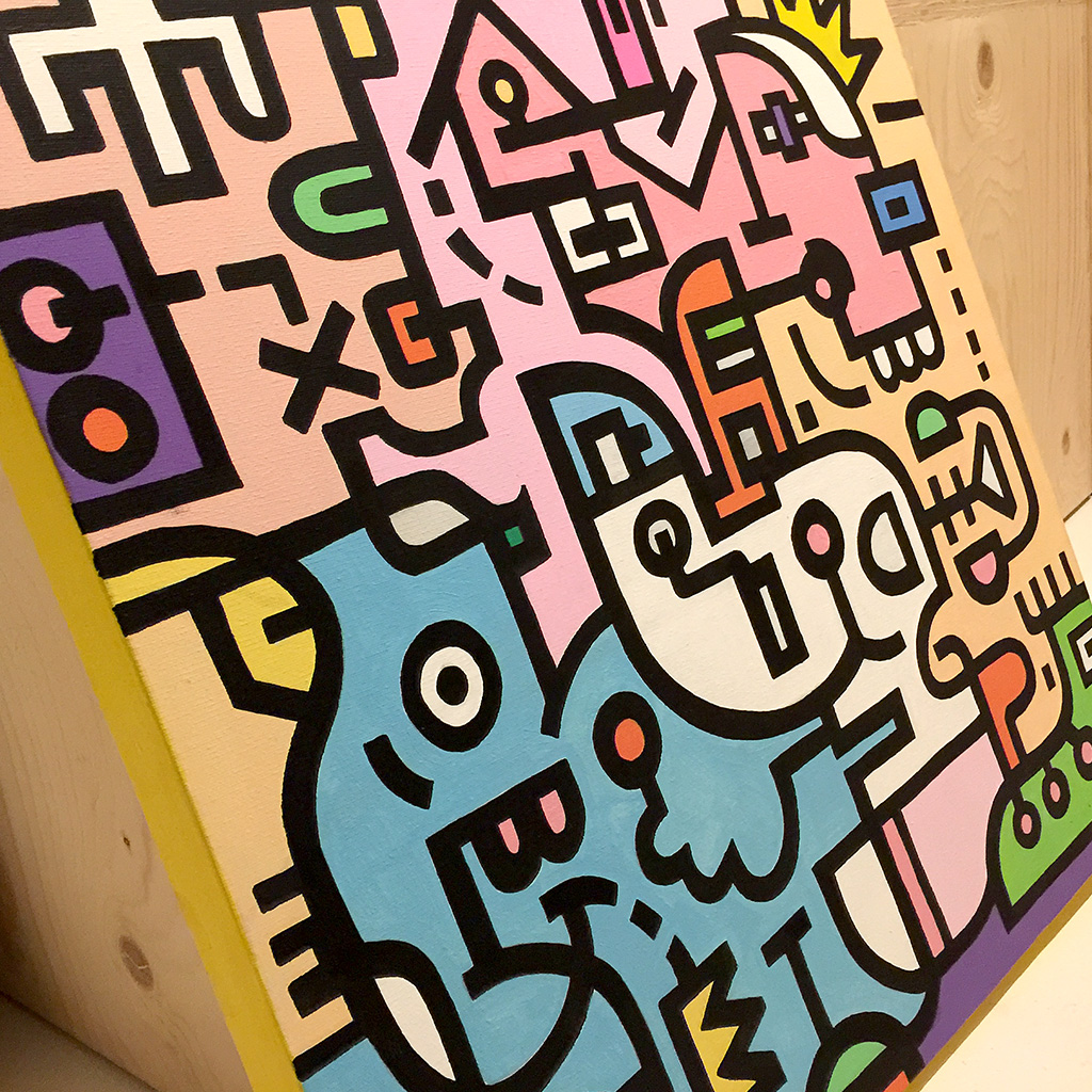 Image 8 of 8 - Close-up view 3 of artwork 'King Candy' in the Mr. Upside Gallery, a colourful painting with black bold lining on canvas by Dutch contemporary urban artist Michiel Nagtegaal