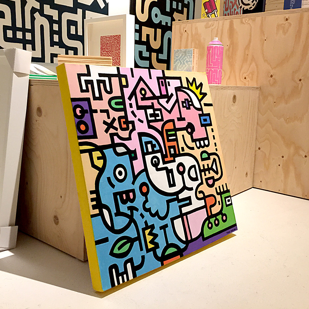 Image 7 of 8 - Side view 2 of artwork 'King Candy' in the Mr. Upside Gallery, a colourful painting with black bold lining on canvas by Dutch contemporary urban artist Michiel Nagtegaal