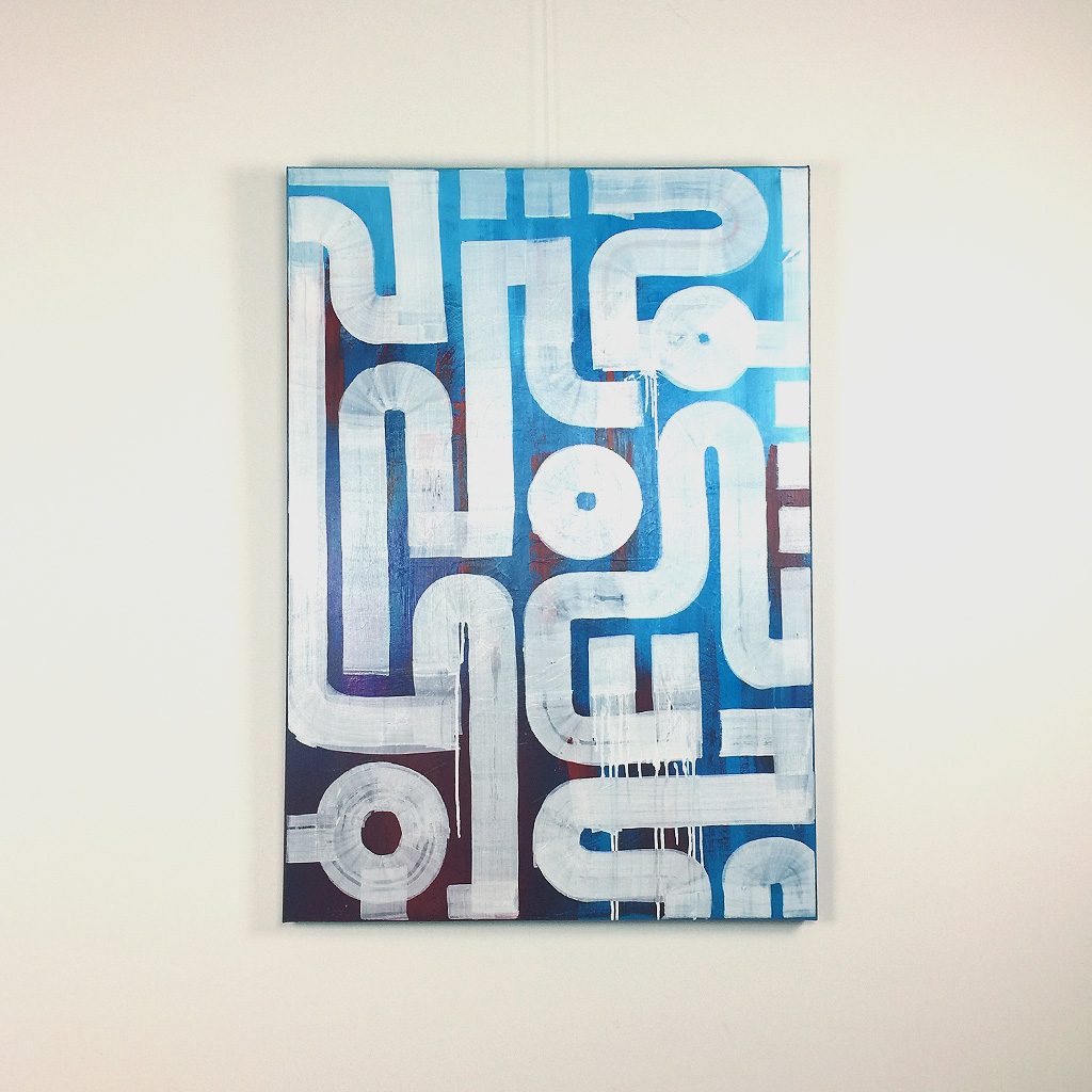 Image 1 of 4 - Front view of 'Drone' - an abstract painting with white lines on a blue and red background by Dutch contemporary urban artist Michiel Nagtegaal
