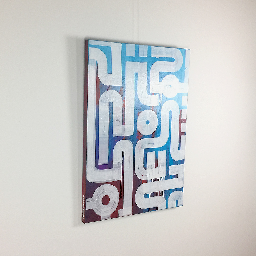 Image 2 of 4 - Left view of 'Drone' - an abstract painting with white lines on a blue and red background by Dutch contemporary urban artist Michiel Nagtegaal
