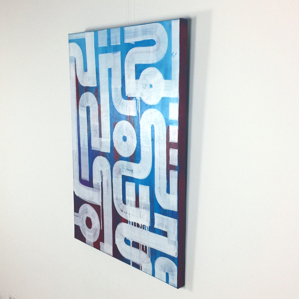 Image 3 of 4 - Right view of 'Drone' - an abstract painting with white lines on a blue and red background by Dutch contemporary urban artist Michiel Nagtegaal