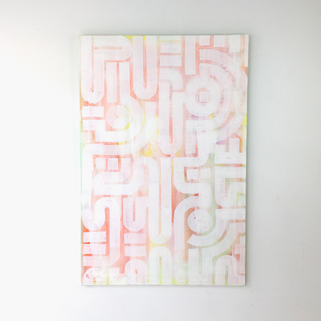 Photo 1 of 7 - Front view of artwork 'soft skin' - an abstract painting on canvas by Dutch contemporary urban artist Michiel Nagtegaal