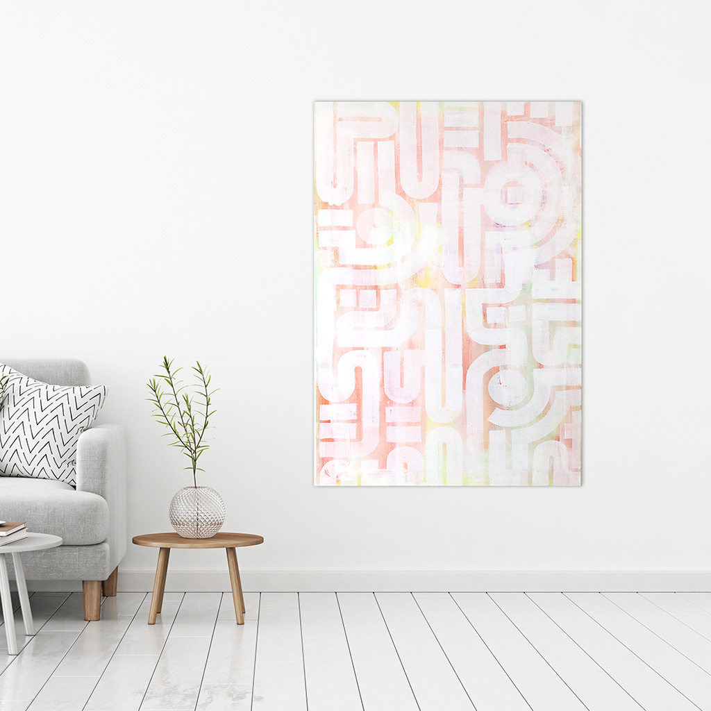Photo 2 of 7 - Room mockup of artwork 'soft skin' - an abstract painting on canvas by Dutch contemporary urban artist Michiel Nagtegaal