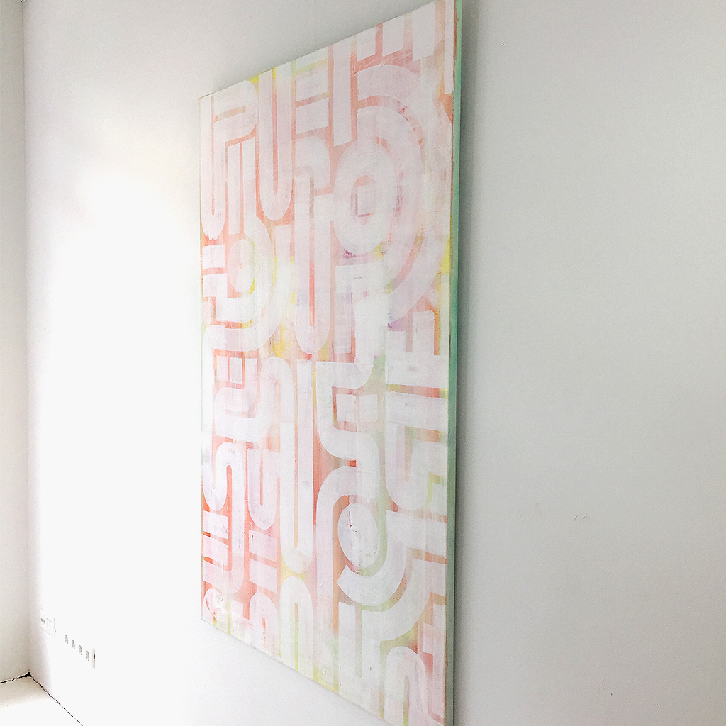 Photo 4 of 7 - Right side view of artwork 'soft skin' - an abstract painting on canvas by Dutch contemporary urban artist Michiel Nagtegaal