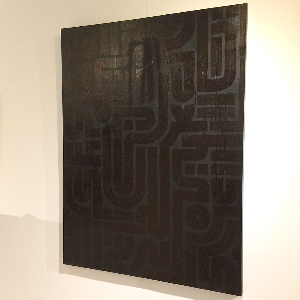 Image 1 of 5 - Front view of artwork 'Back to Black I' - a larger abstract dark painting on canvas by Dutch contemporary urban artist Michiel Nagtegaal