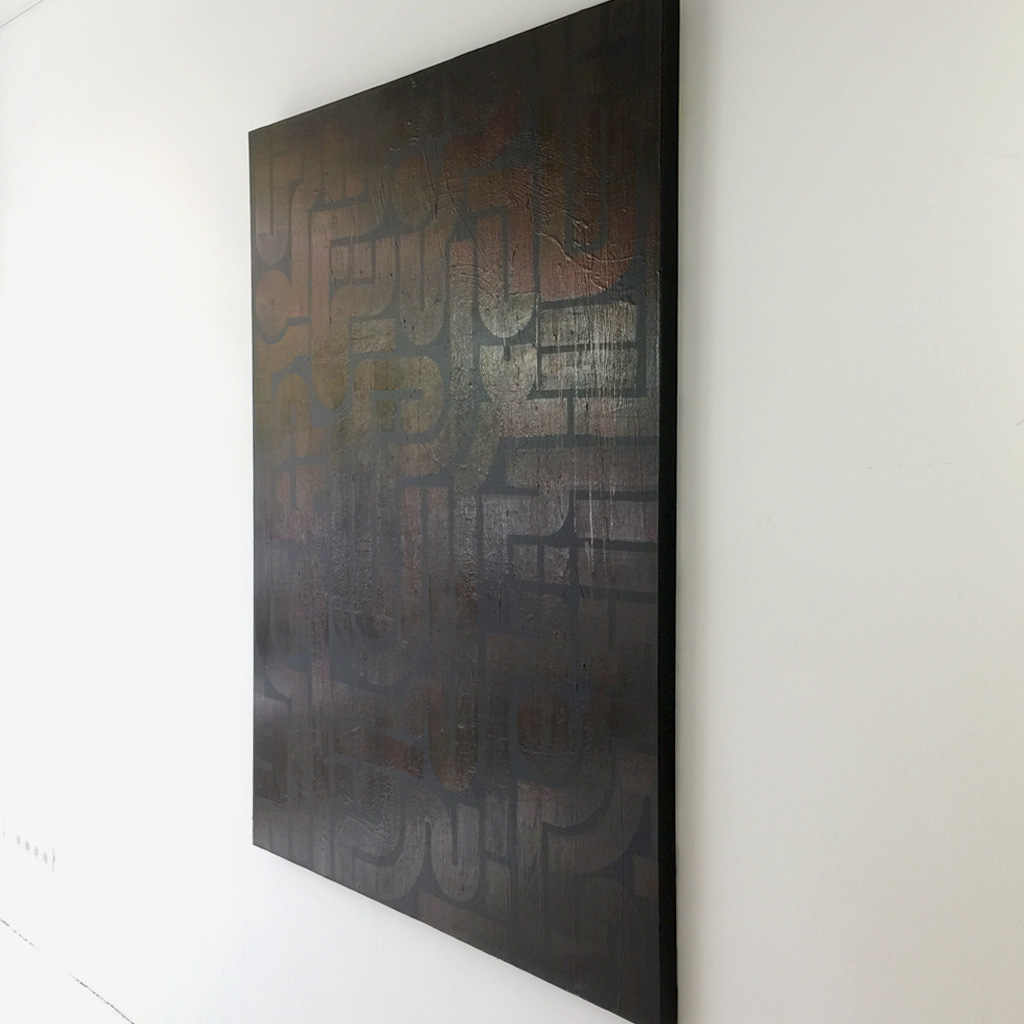 Image 2 of 5 - Right view of artwork 'Back to Black I' - a larger abstract dark painting on canvas by Dutch contemporary urban artist Michiel Nagtegaal