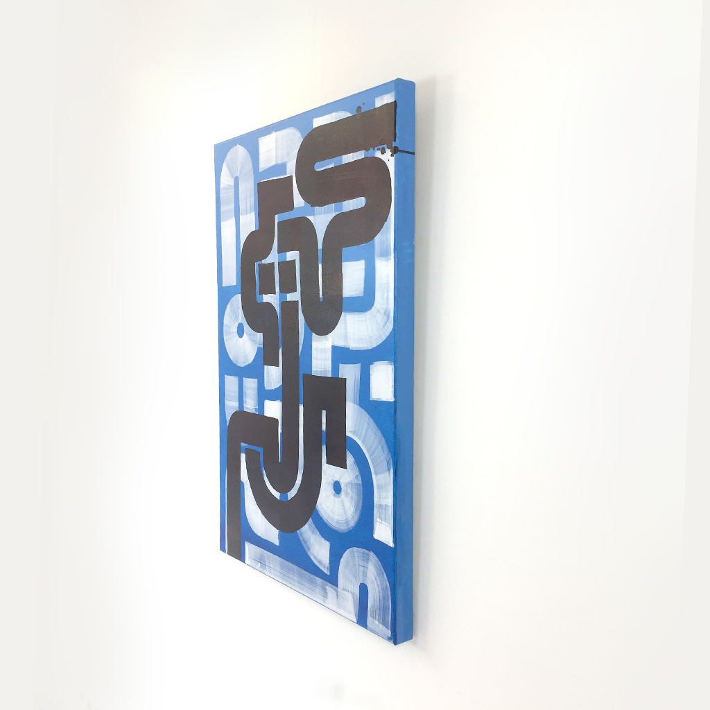 Image 3 of 5 - Right view of 'Yoga Position' - an abstract painting with black copper and white lines on a blue background by Dutch contemporary urban artist Michiel Nagtegaal