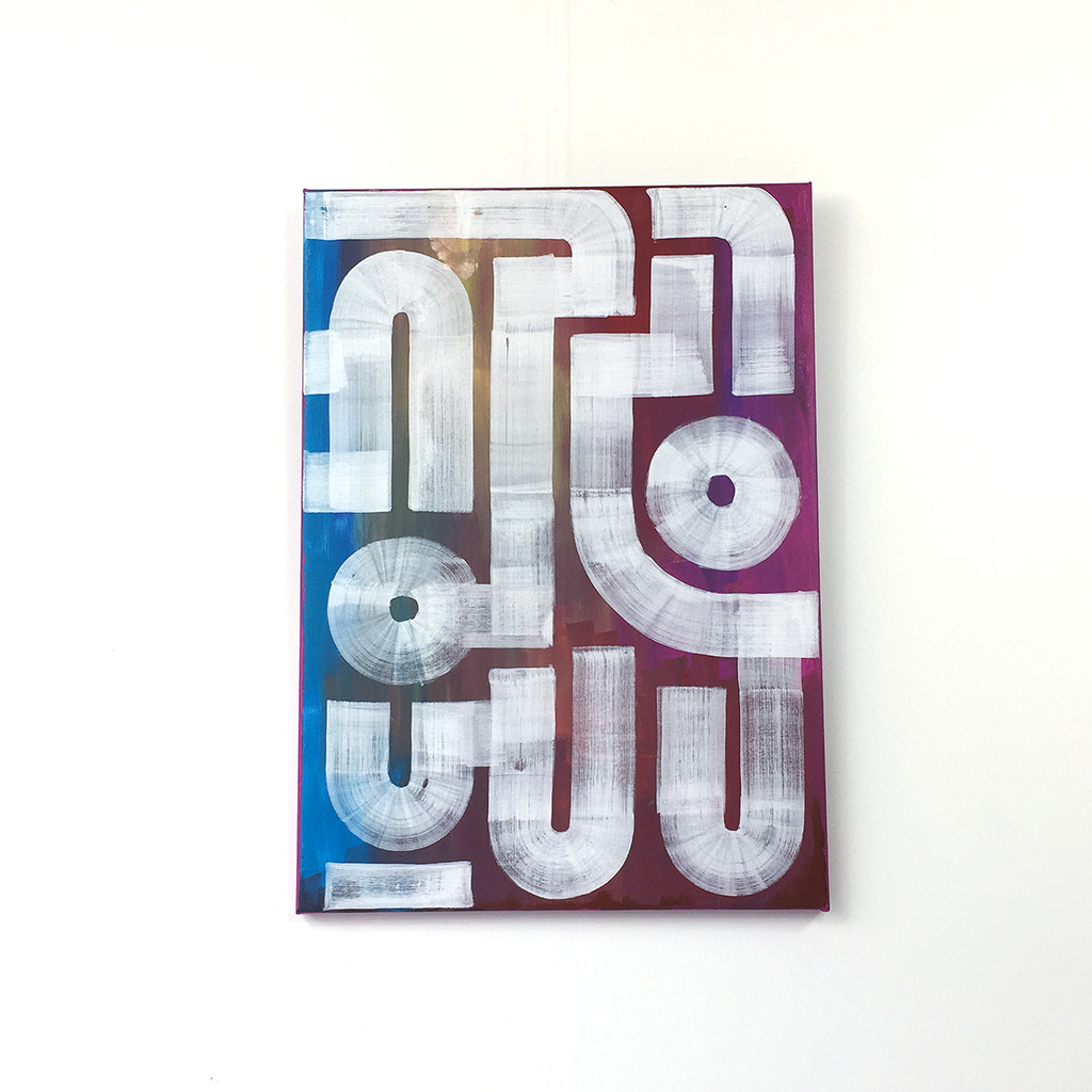 Image 1 of 6 - Front view of 'Field Portrait' - an abstract painting with white lines on a blue and red background by Dutch contemporary urban artist Michiel Nagtegaal