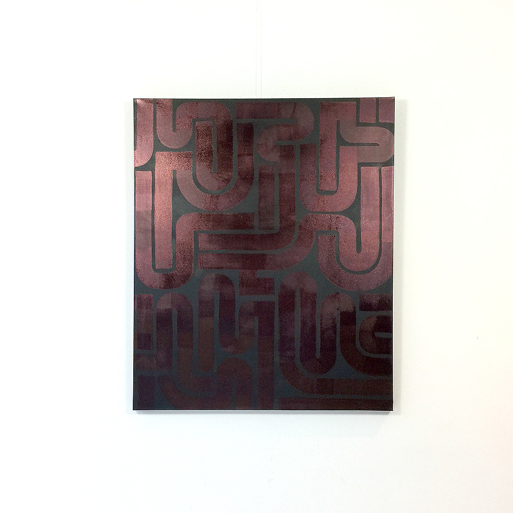 Image 1 of 6 - Front view of artwork 'Back to Black II' - an abstract dark / copper painting on canvas by Dutch contemporary urban artist Michiel Nagtegaal