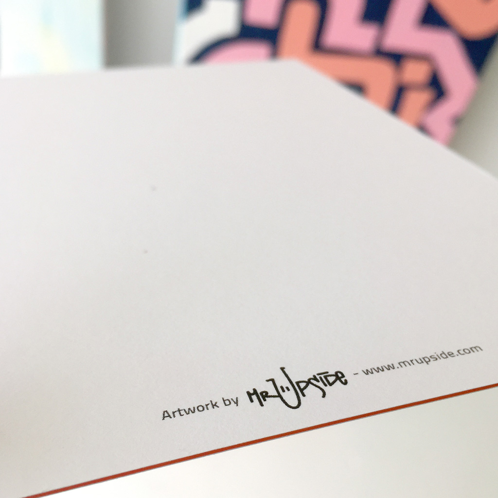 Close up view of a Luxe Medium Postcard with artwork 'Bold Pink' printed on super heavy paper by Moo Cards. Artwork by Dutch contemporary urban artist Michiel Nagtegaal / Mr. Upside