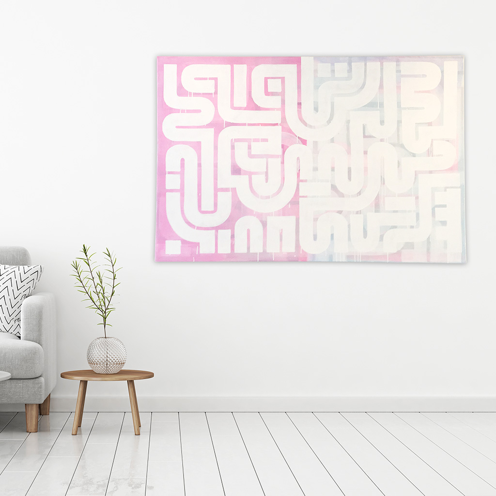 Photo 2 of 5 - Living room view of abstract artwork 'Duality' - A painting with white lines on a blue and pink coloured canvas by Dutch contemporary urban artist Michiel Nagtegaal