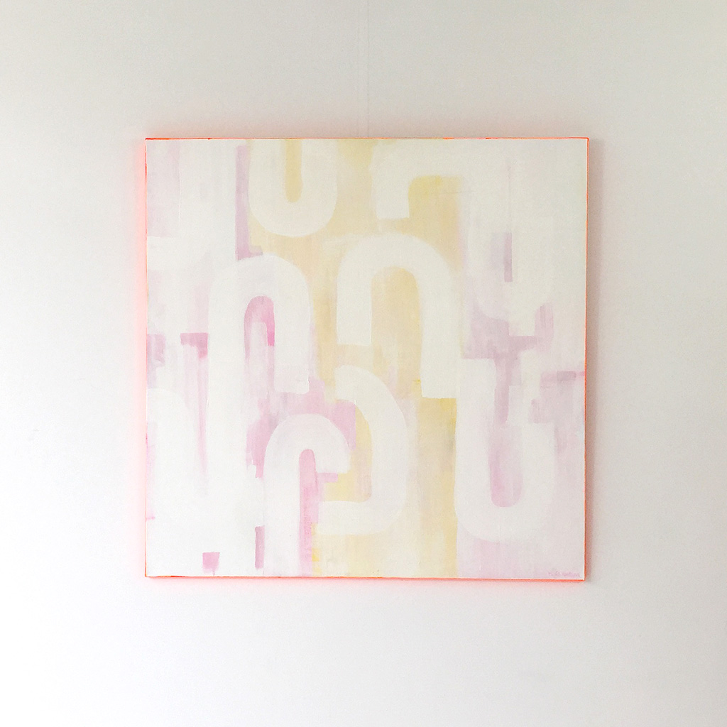 Photo 1 - Artwork 'White Lines' is a painting on canvas by Dutch contemporary urban artist Michiel Nagtegaal