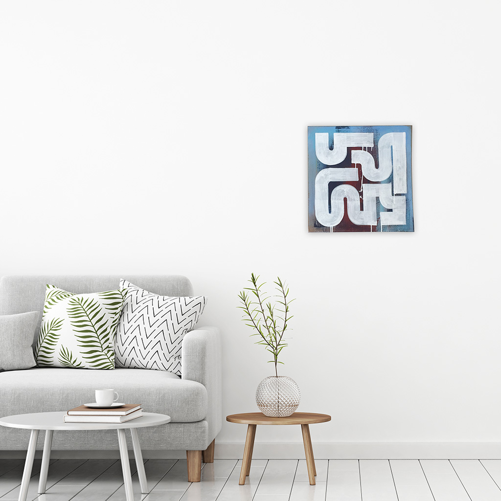 Photo 4 of 5 - Living room view with artwork 'Rusty Morning' - An abstract painting with white lines on a blue and dark brown red coloured canvas by Dutch contemporary urban artist Michiel Nagtegaal