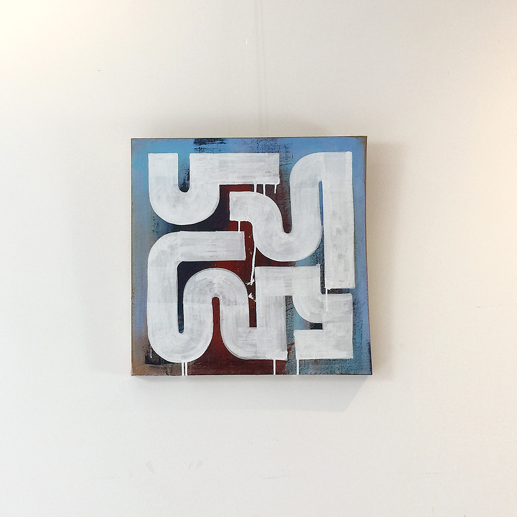Photo 1 of 5 - Front view of artwork 'rusty Morning' - An abstract painting with white lines on a blue and dark brown red coloured canvas by Dutch contemporary urban artist Michiel Nagtegaal