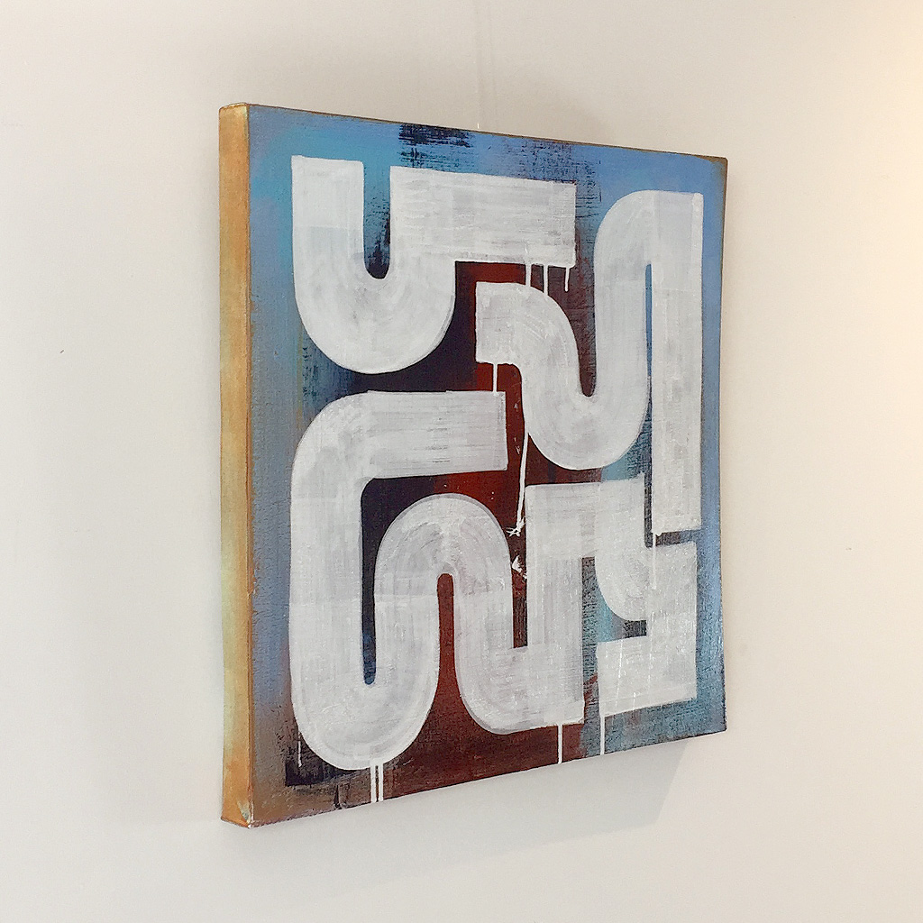 Photo 3 of 5 - Left view of artwork 'Rusty Morning' - An abstract painting with white lines on a blue and dark brown red coloured canvas by Dutch contemporary urban artist Michiel Nagtegaal