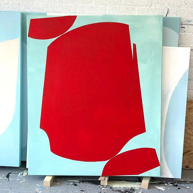 Work-in-progress shot from the studio. Although I like the zen colours of the previous 'Contiguity' artworks, I felt like trying to use red today, :)⠀ .⠀ The shapes where conceived during sketching on an Apple iPad Pro. Using a digital device for ideas works super. Although it does not make the painting (on a larger scale) less challenging. ⠀ .⠀ Stay tuned for more work-in-progress shots the next couple of days! And check out the paintings in the new 'Contiguity' collection on my website (link in bio).⠀ .⠀ If you have any questions regarding my work, feel free to send a DM or e-mail. I am happy to help!