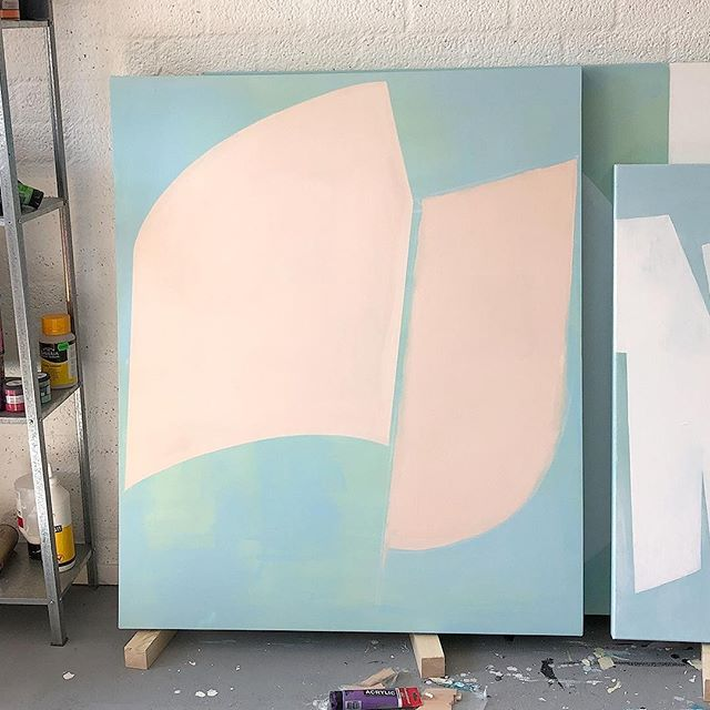 Work-in-progress shot from the studio. Still working on the shapes and not even sure on the colour combination. What do you think?⠀ .⠀ The shapes where conceived during sketching on an Apple iPad Pro. Using a digital device for ideas works super. Although it does not make the painting (on a larger scale) less challenging, :)⠀ .⠀ Stay tuned for more work-in-progress shots the next couple of days! And check out the paintings in the new 'Contiguity' collection on my website (link in bio). The goal is to have 20 paintings with enough similarities to fit them in a consistent collection.⠀ .⠀ If you have any questions regarding my work, feel free to send a DM or e-mail. I am happy to help!