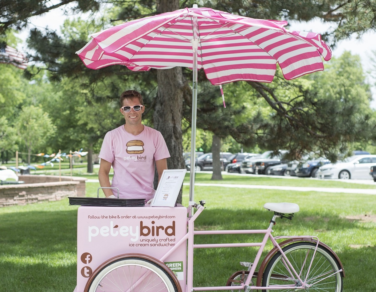 ice cream bike - it all started with our classic, pink ice cream bikes; peddling them around denver and selling gourmet ice cream sandwiches. while you won't find them on the streets any longer, you can have one at your event. great for any type of event. serves 50-400+.