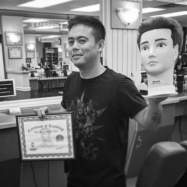 I graduated my basics course! Prob gonna cut my wife's  hair tonight when she falls asleep on the couch. please meet Richard the mannequin to whom I gave my first haircut, and now creeping me out in the corner of the house. Thanks to the @imperialbarbershopottawa teaching team for showing me this new world.  Look forward to advance class next week. #barbershop #manequin #graduation #ottawa