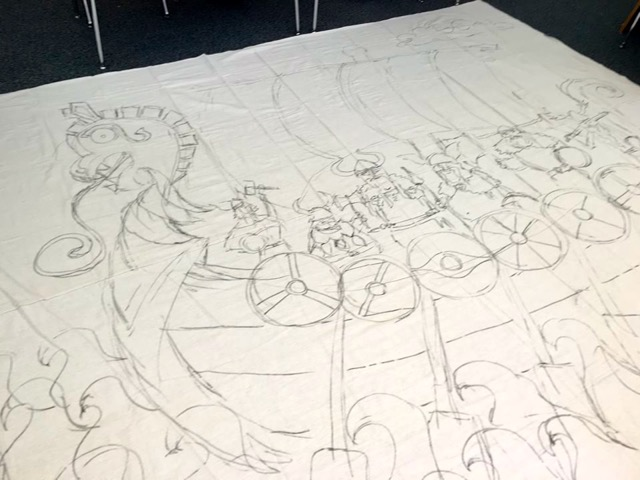 Large sketch on canvas drop cloth for Kidsfest.