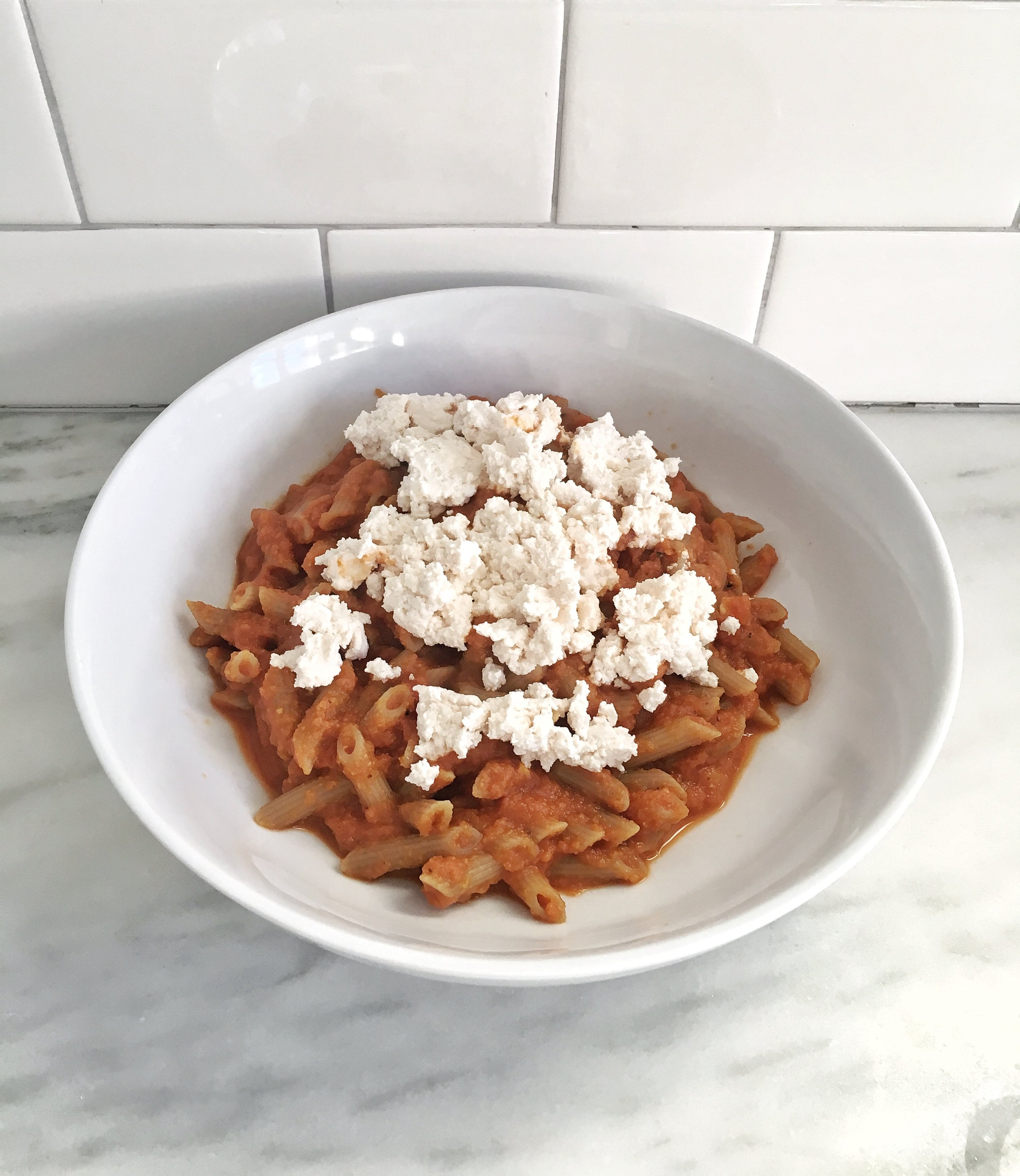 For a vegan and gluten free meal, top quinoa/brown rice pasta with sauce and Kite Hill almond milk ricotta
