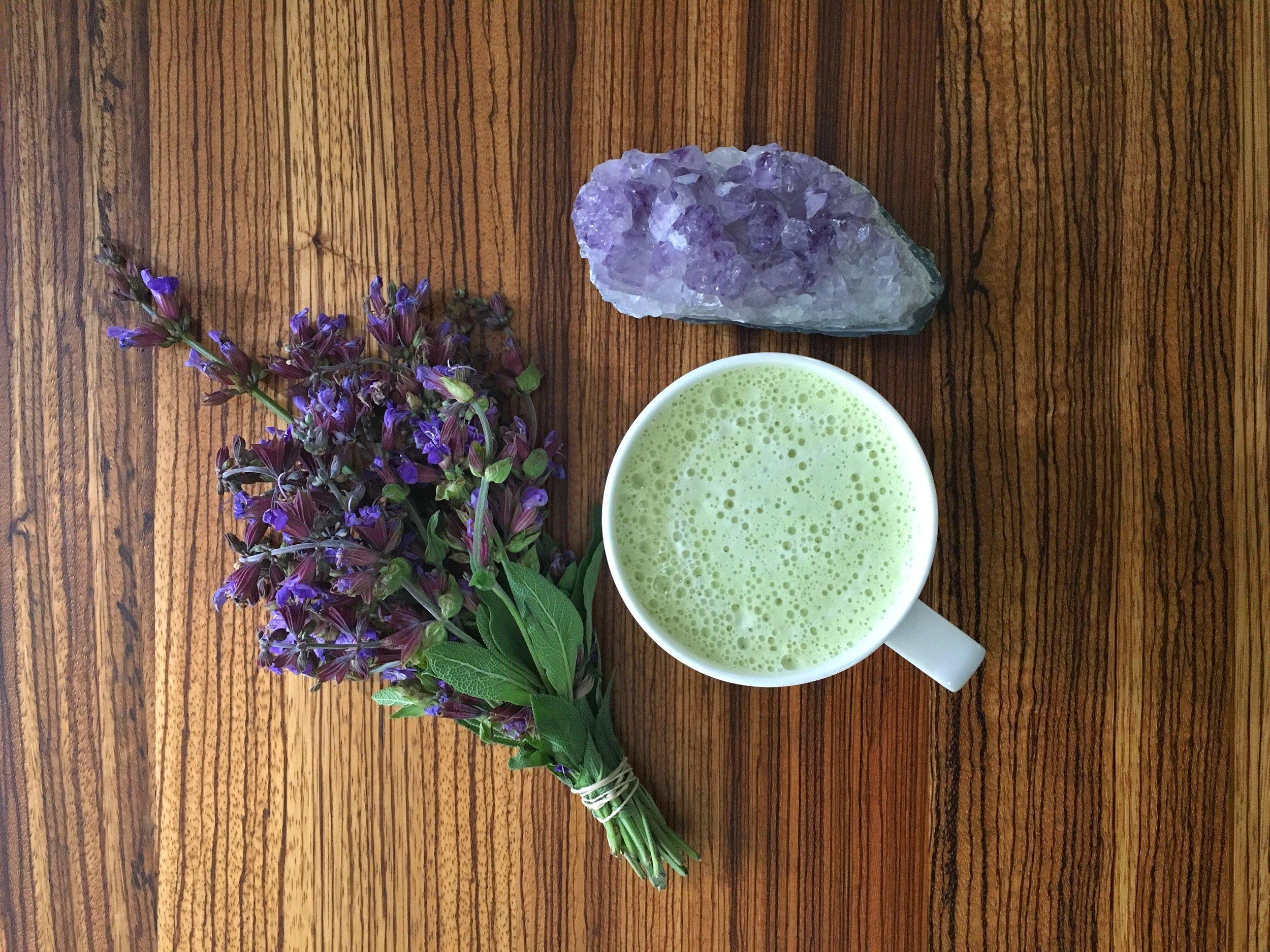Adaptogenic Matcha Latte (recipe below) - a good afternoon pick me up