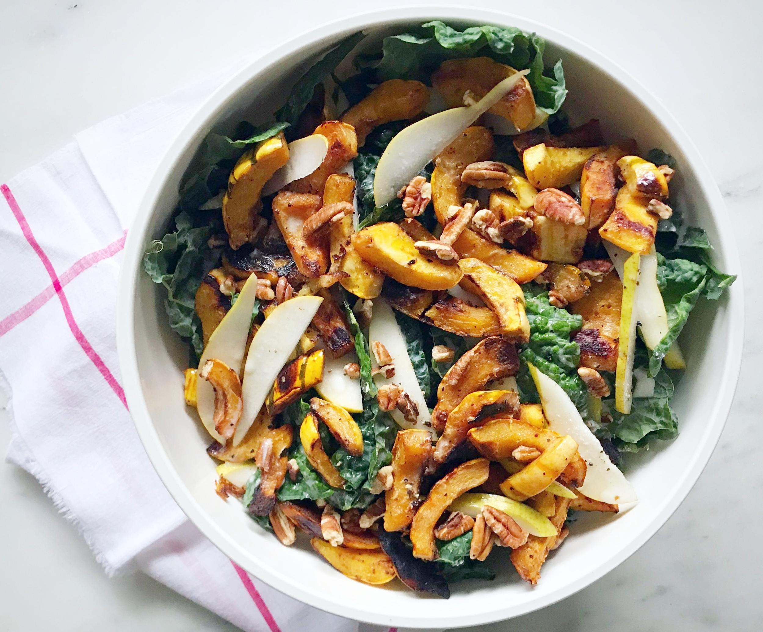 Fruit, nut, root veggie, something creamy and green is a great formula for a cold weather salad