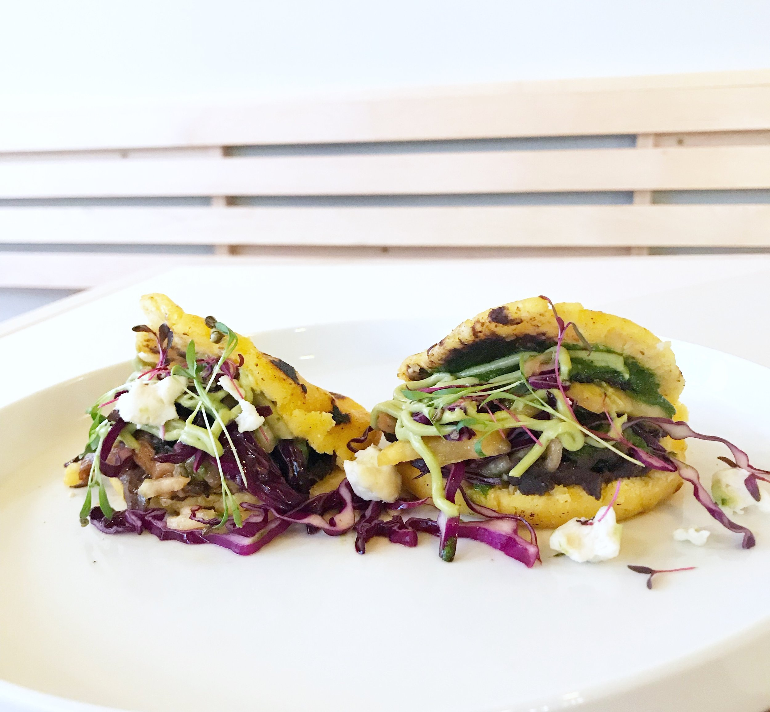 Equally beautiful and delicious vegan arepas from Naive in Butchertown