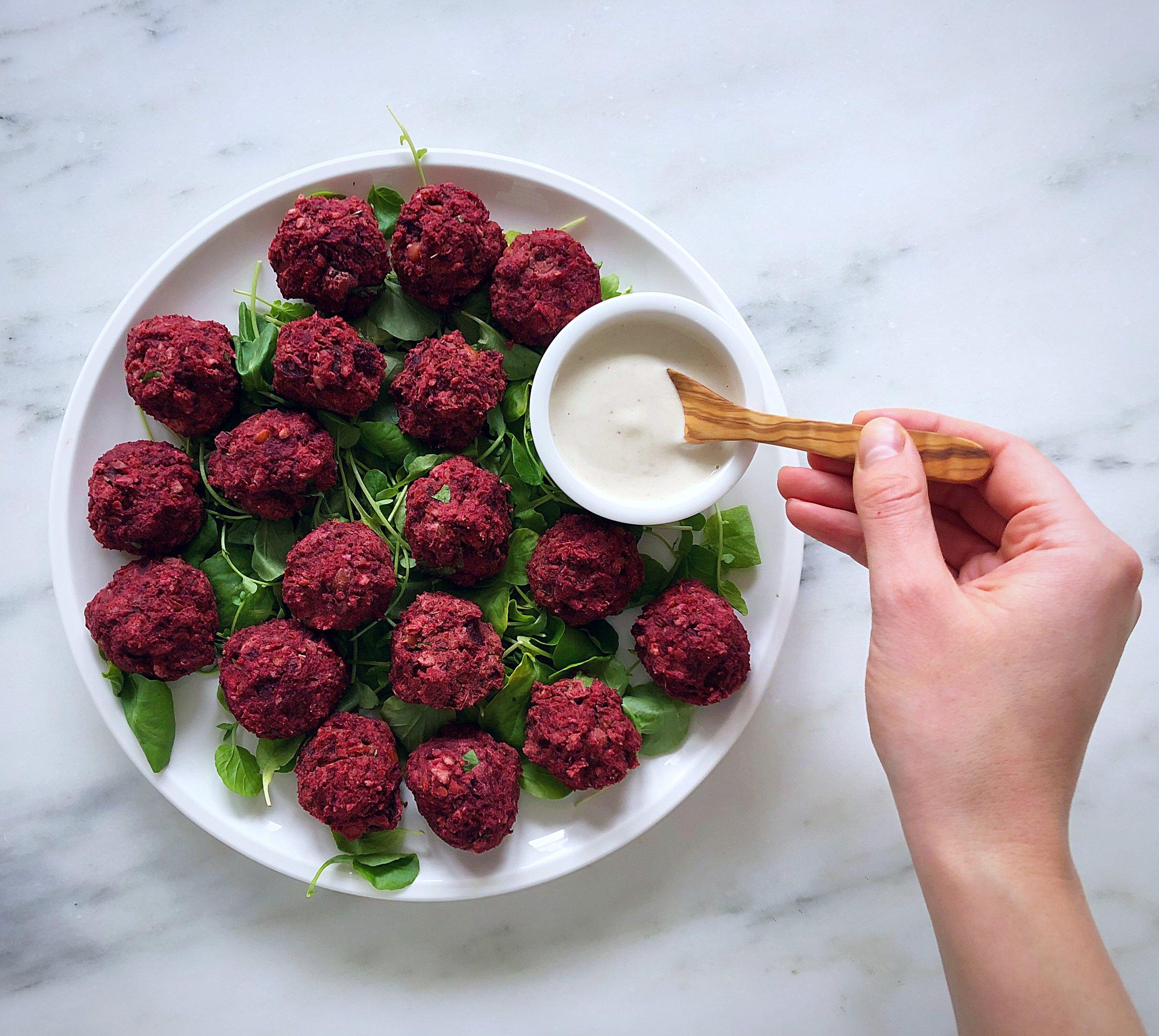 beet falafels